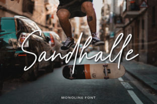Download Free Sandhalle Font By Letterrendra Creative Fabrica for Cricut Explore, Silhouette and other cutting machines.