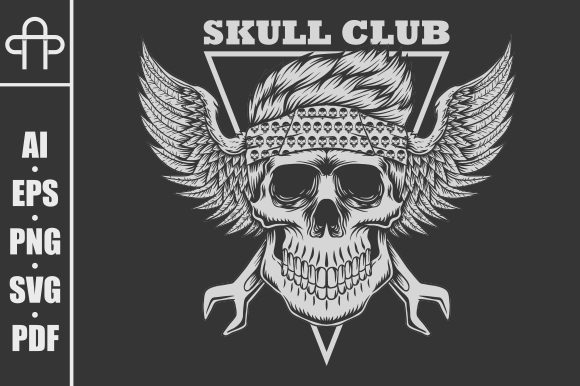 Download Free Skull Club Biker Vector Illustration Graphic By Andypp for Cricut Explore, Silhouette and other cutting machines.