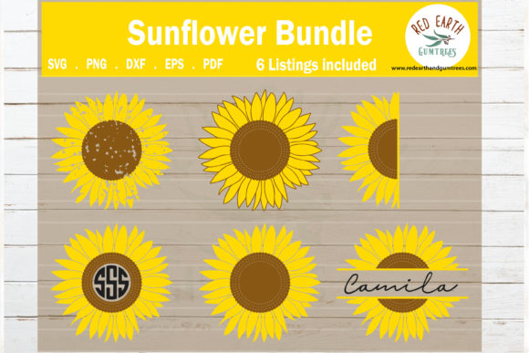 Sunflower Bundle, Distressed Flower Graphic Crafts By redearth and gumtrees