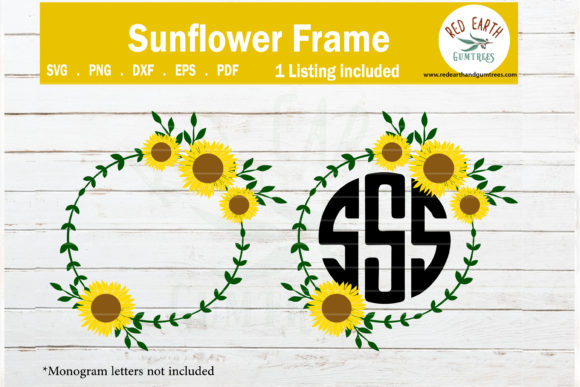 Sunflower Monogram Frame  Graphic Crafts By redearth and gumtrees
