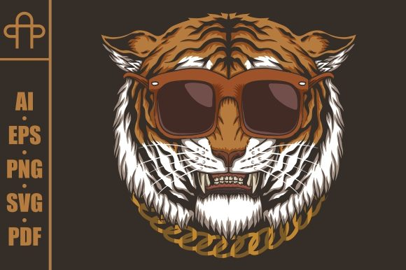 Download Free Tiger Head Eyeglasses Graphic By Andypp Creative Fabrica for Cricut Explore, Silhouette and other cutting machines.