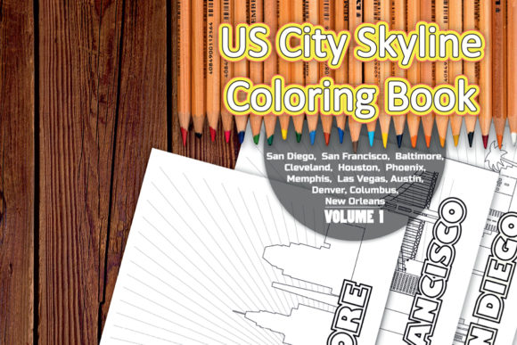 Download Free Us City Skyline Coloring Book Volume 1 Graphic By Vector City for Cricut Explore, Silhouette and other cutting machines.