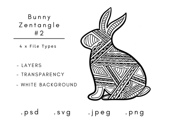 Download Free Zentangle Animals Zentangle Rabbit Graphic By Linnypig Designs for Cricut Explore, Silhouette and other cutting machines.