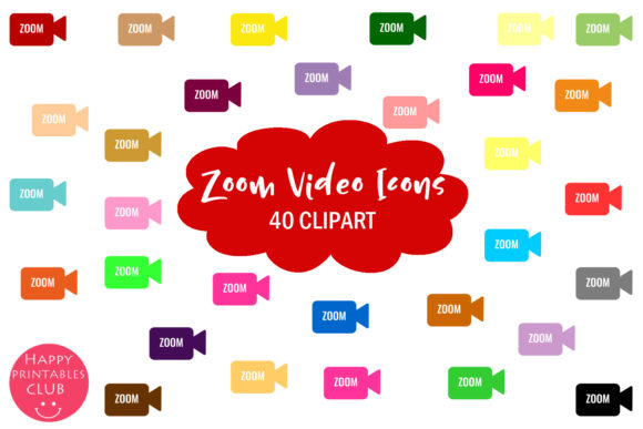 Print on Demand: Zoom Meeting Video Meeting Clipart Set Graphic Illustrations By Happy Printables Club