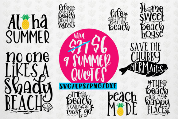 Download Free 9 Summer Bundles Graphic By Coralcutssvg Creative Fabrica for Cricut Explore, Silhouette and other cutting machines.