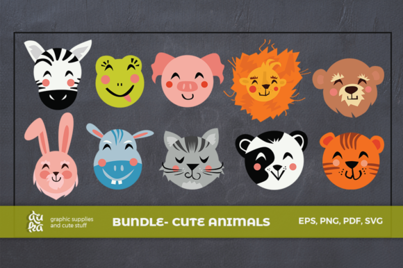 Download Free Bundle Cute Animals Characters Graphic By Duka Creative Fabrica for Cricut Explore, Silhouette and other cutting machines.