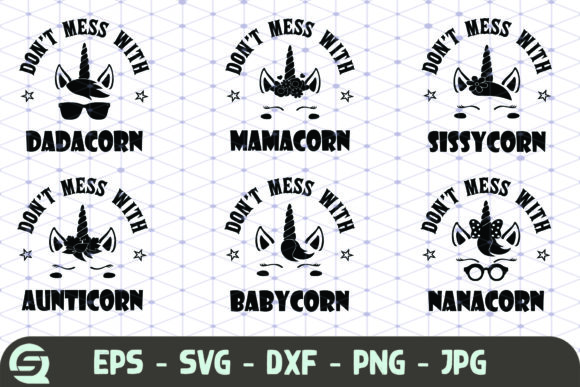 Download Free Bundle Unicorn Family Grafico Por Crafty Files Creative Fabrica for Cricut Explore, Silhouette and other cutting machines.