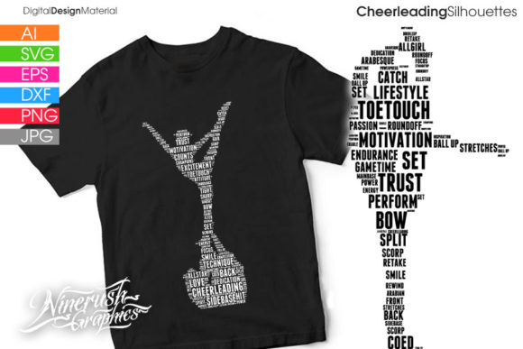 Print on Demand: Cheer Stunts Silhouettes Vector Graphics Graphic Illustrations By ninerush