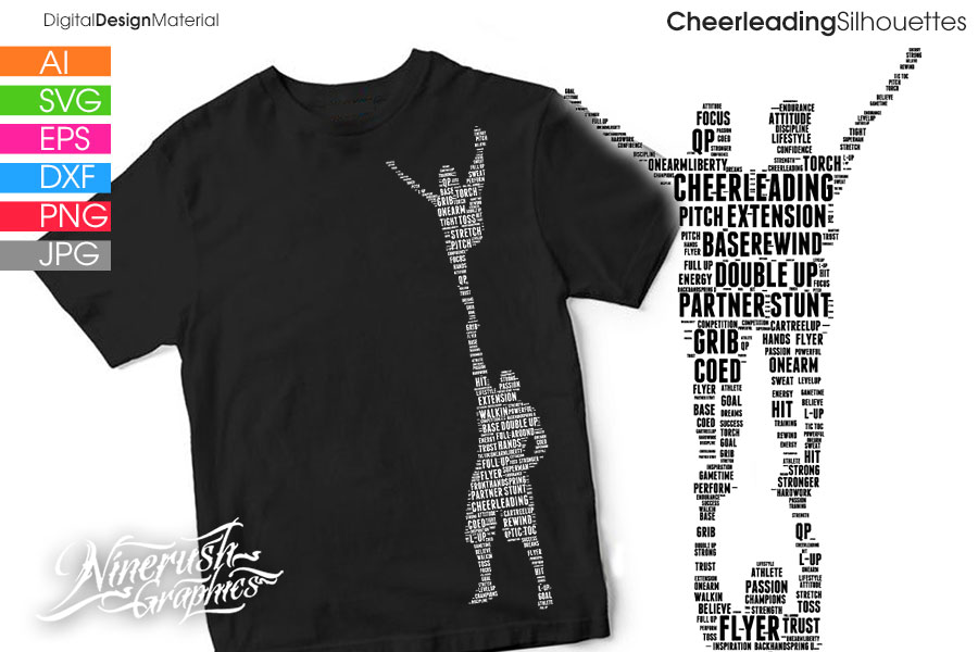 Download Free Cheer Stunts Silhouettes Vector Graphics Graphic By Ninerush for Cricut Explore, Silhouette and other cutting machines.