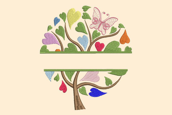 Download Free Colorful Tree With Heart Shaped Leaves Creative Fabrica for Cricut Explore, Silhouette and other cutting machines.