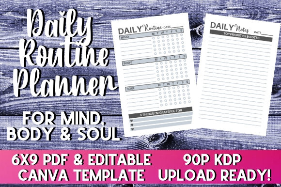 Print on Demand: Daily Routine Planner | KDP Interior Graphic KDP Interiors By InteriorTastic