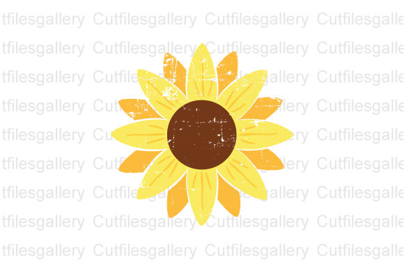 Distressed Sunflower, Sunflower  Graphic Crafts By cutfilesgallery