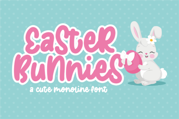 Download Free Easter Bunnies Font By Azetype Creative Fabrica for Cricut Explore, Silhouette and other cutting machines.