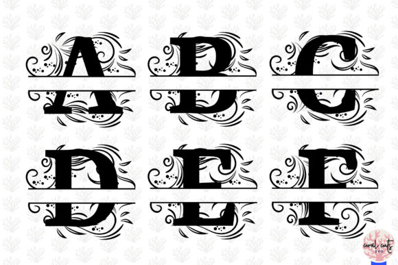 Download Free Floral Split Alphabet Monogram Graphic By Coralcutssvg for Cricut Explore, Silhouette and other cutting machines.