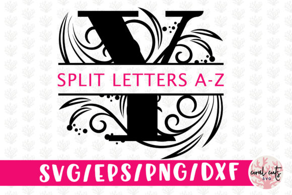 Download Free Floral Split Monogram Cut Files Svg Graphic By Coralcutssvg SVG Cut Files