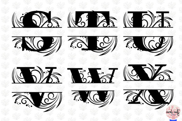 Download Free Floral Split Monogram Cut Files Svg Graphic By Coralcutssvg for Cricut Explore, Silhouette and other cutting machines.