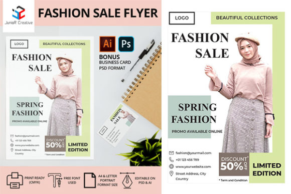 Print on Demand: Flyer Fashion Sale Graphic Print Templates By JunioR Creative