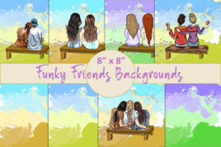 Funky Friends Backgrounds and Clipart Graphic Crafts By DigitalCraftsco