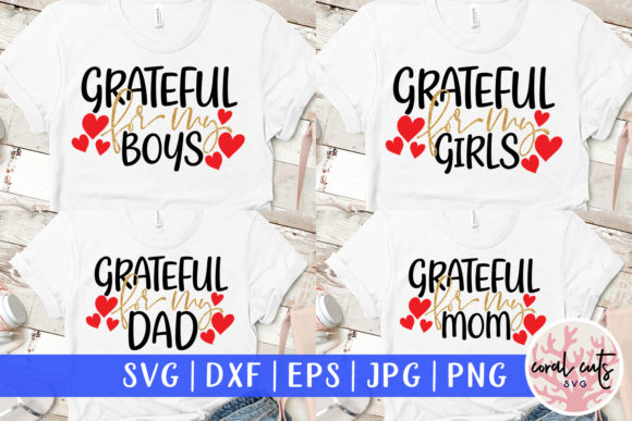 Download Free Grateful For My Family Bundle Graphic By Coralcutssvg Creative for Cricut Explore, Silhouette and other cutting machines.
