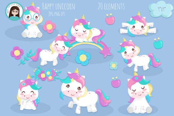 Happy Lovely Unicorn Graphic Illustrations By CuteLittleClipart