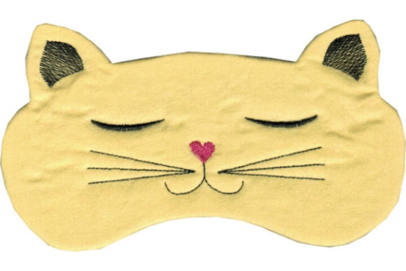 Kitty Eye Mask Cats Embroidery Design By Sue O'Very Designs - Image 1