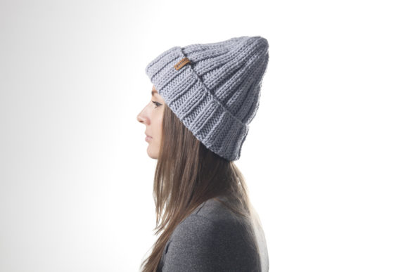 Knit 2x2 Ribbed Beanie Pattern Graphic Knitting Patterns By onehatstore - Image 2