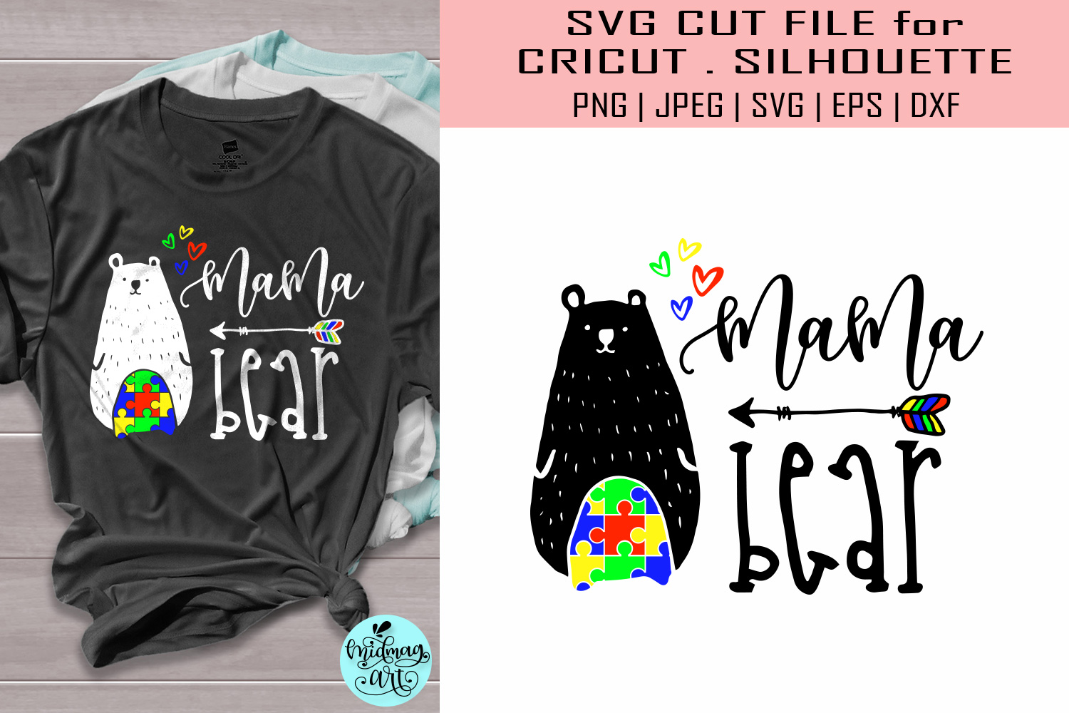 Download Free Mama Bear Autism Autism Grafik Von Midmagart Creative Fabrica for Cricut Explore, Silhouette and other cutting machines.
