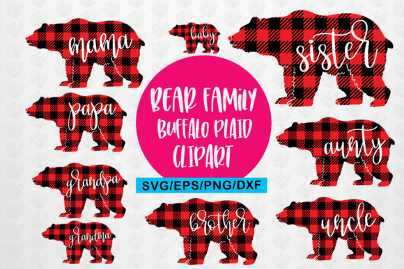 Download Free Mama Bear Buffalo Plaid Family Bundle Graphic By Coralcutssvg Creative Fabrica for Cricut Explore, Silhouette and other cutting machines.