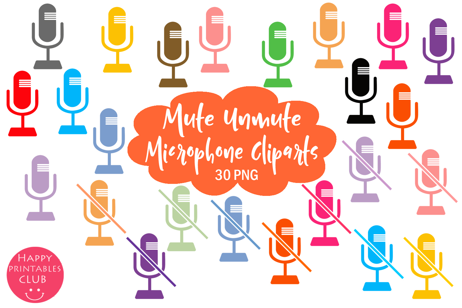 Download Free Mute Unmute Microphone Clipart Set Graphic By Happy Printables Club Creative Fabrica for Cricut Explore, Silhouette and other cutting machines.