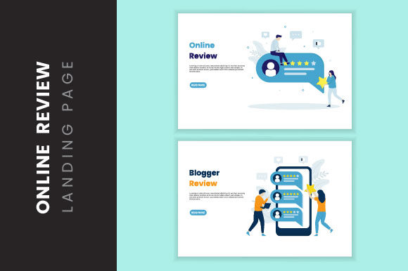 Online Review Illustration Landing Page Graphic Illustrations By HengkiL