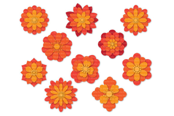 Download Free Paper Flower Templates Graphic By Meshaarts Creative Fabrica for Cricut Explore, Silhouette and other cutting machines.