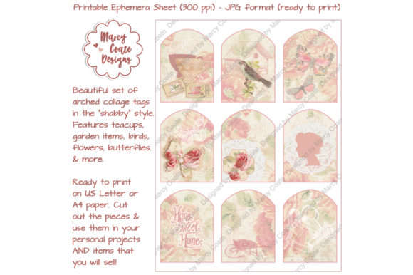 Pink Collage Tags in Shabby Chic Style Gráfico Crafts Por MarcyCoateDesigns