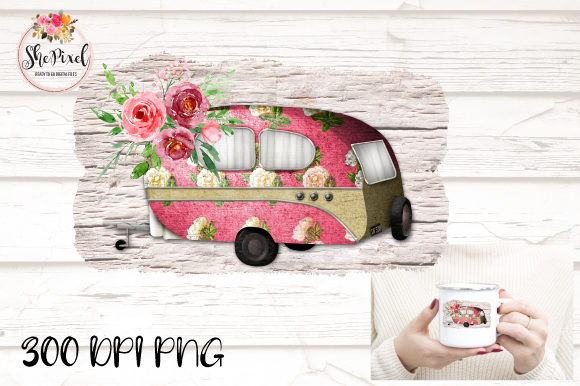 Print on Demand: Pink Vintage Floral Camper ClipArt Grafik Illustrationen von ShePixel