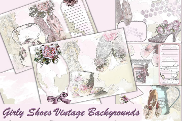 Print on Demand: Printable Vintage Shabby Chic Background Graphic Backgrounds By The Paper Princess
