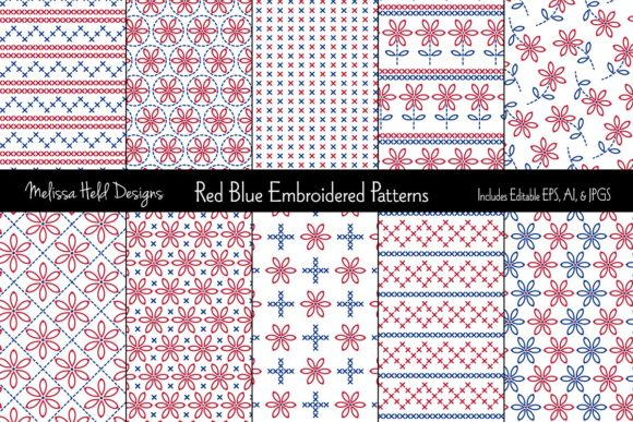 Red Blue Embroidered Patterns Graphic Patterns By Melissa Held Designs
