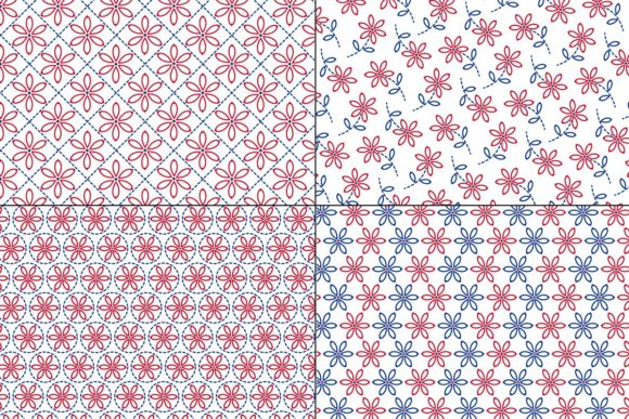 Download Free Red Blue Embroidered Patterns Graphic By Melissa Held Designs for Cricut Explore, Silhouette and other cutting machines.