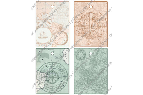 Set of 4 Printable Vintage Map Tags Graphic Crafts By MarcyCoateDesigns