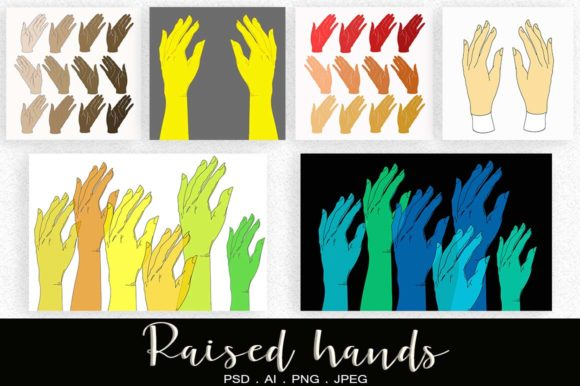 Download Free Set With Raised And Wave Hands Graphic By Vikta55 Creative Fabrica SVG Cut Files