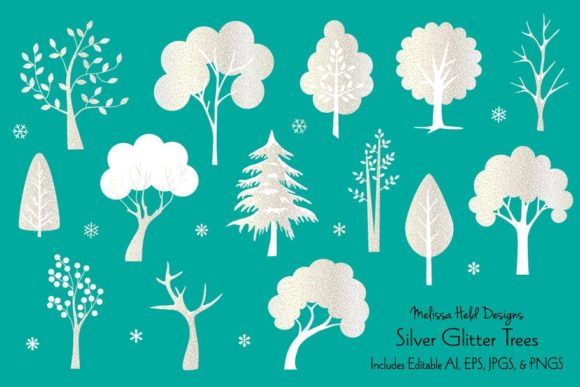 Silver Glitter Trees Graphic Illustrations By Melissa Held Designs