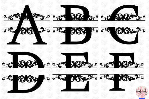 Download Free Split Letters Monogram A To Z Graphic By Coralcutssvg Creative for Cricut Explore, Silhouette and other cutting machines.