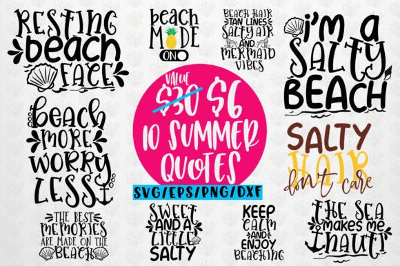 Download Free 1 Summer Beach Svg Bundles 10 Svg Eps Dxf Png Cut File Designs for Cricut Explore, Silhouette and other cutting machines.