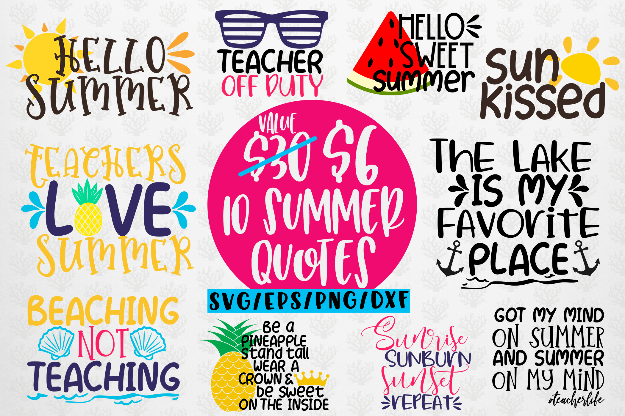 Download Free Summer Beach Bundles Graphic By Coralcutssvg Creative Fabrica for Cricut Explore, Silhouette and other cutting machines.