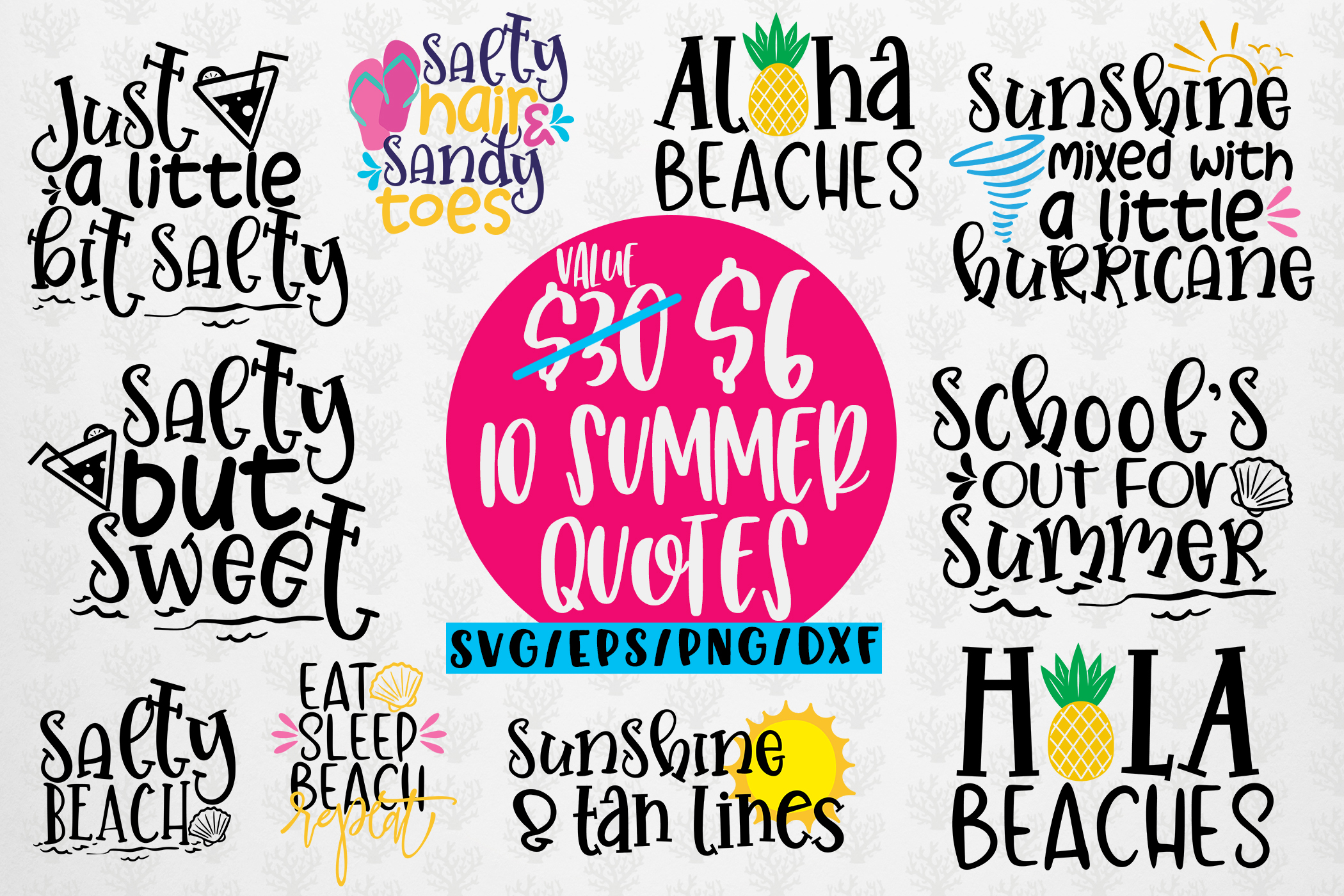 Download Free Summer Svg Bundles 10 Svg Eps Dxf Png Graphic By Coralcutssvg for Cricut Explore, Silhouette and other cutting machines.