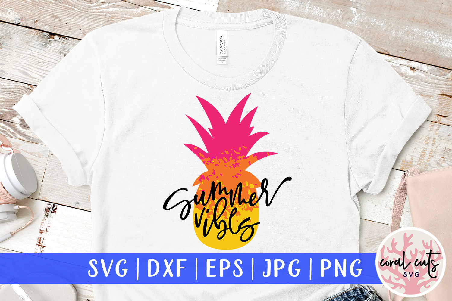 Download Free Summer Vibes Cut File Graphic By Coralcutssvg Creative Fabrica for Cricut Explore, Silhouette and other cutting machines.