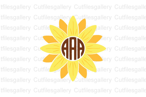 Sunflower Monogram, Sunflower  Graphic Crafts By cutfilesgallery
