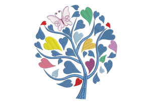 Print on Demand: Tree with Heart Leaves Forest & Trees Embroidery Design By Embroidery Shelter