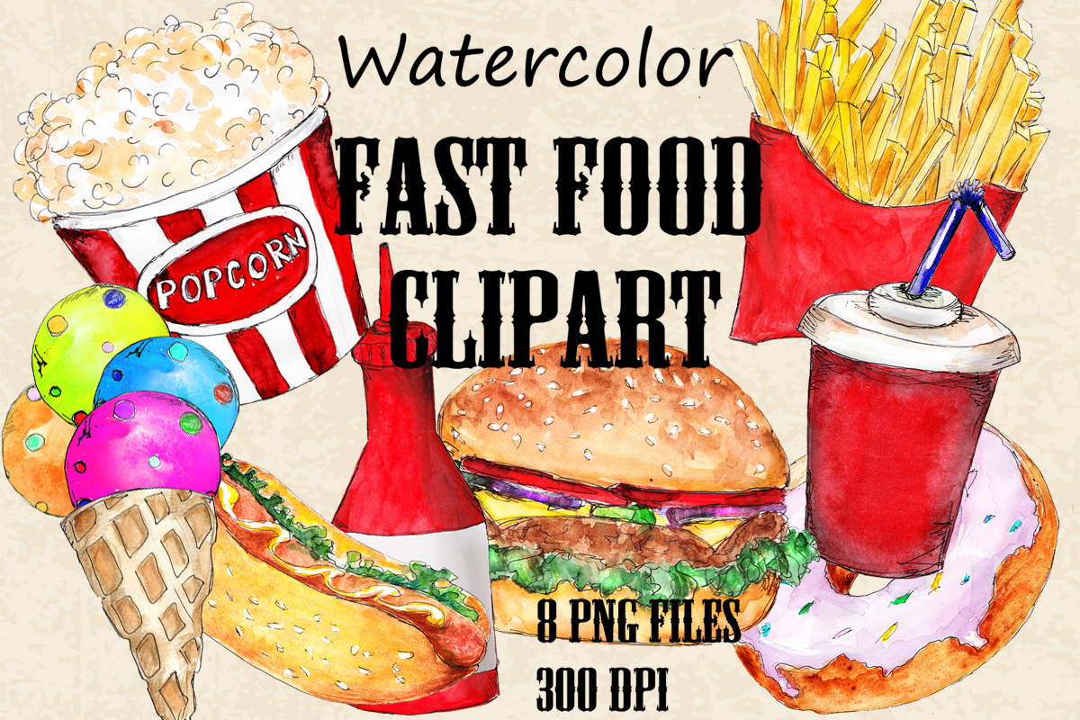 Download Free Watercolor Set Of Junk Food Graphic By Arevkasunshine Creative for Cricut Explore, Silhouette and other cutting machines.