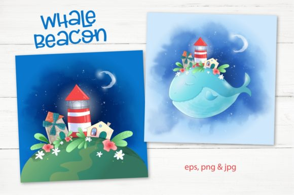 Print on Demand: Whale Beacon Graphic Illustrations By nicjulia