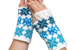 Women's Falling Snowflakes Mitts Graphic Crochet Patterns By Knit and Crochet Ever After