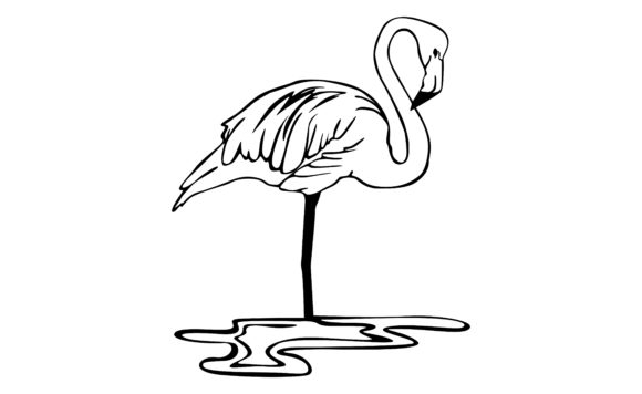 Print on Demand: Flamingo Bird with a Line Art Style Graphic Crafts By Arief Sapta Adjie